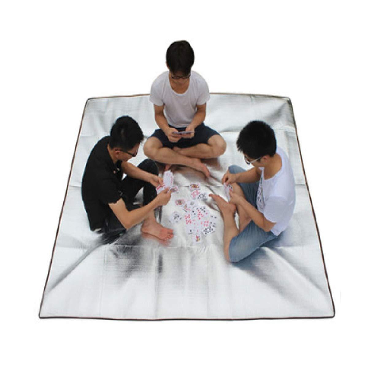 Hongyuantongxun Camping Mat Suitable for Outdoor Travel Outdoor Waterproof Beach Mat Picnic Mat 200 * 200 cm Silver Beautiful