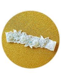 Slocyclub Ivory Embroidery Wedding Garter with Cute Bead