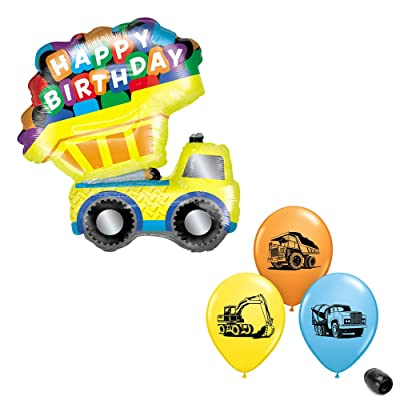 "33"" Happy Birthday Dump Truck Foil Mylar Balloon & 11"" Construction Trucks Assorted Colors Print Latex Balloon Bundle: Toys & Games"