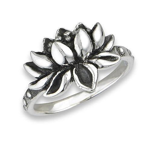 f18a9dfe3dd99 .925 Sterling Silver Open Lotus Flower Ring