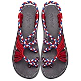 Everelax Summer Braided Rope Flat Sandals Casual Vacation Beach Shoes For Women Teenagers Girls Multicolor 9B(M)US
