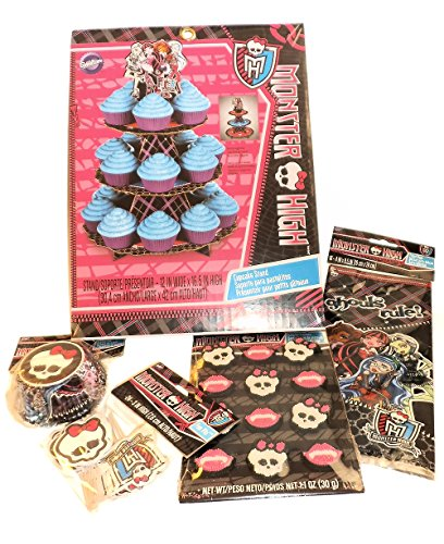 Monster High Theme Party Supplies - Birthday or Party - Treat Stand, Baking Cups, Pixs, & Icing Decorations