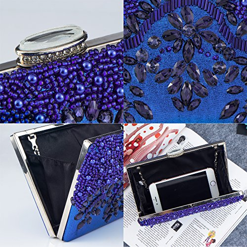 Rhinestones Bagood Glassbeads Royal Handmade Women's Handbag Party Bag Clutch Crystal Purse Blue Evening Embroidery n6r6X5xq7