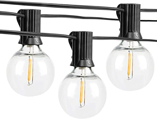 Outdoor String Lights, 25ft LED G40 Globe String Lights with 25 1pcs Clear Bulbs Led String Lights Outdoor, 1 Watt Dimmable 2700k, 25 X E12 Socket,Patio Lights String Led Waterproof