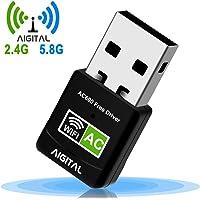 WLAN Adapter,WiFi Stick 600Mbps Mini Dual Band 2.4GHz / 5GHz Wireless USB Adapter Empfänger 802.11ac/n/g/b Netzwerk Dongles,für PC,für Windows XP/7/8/10/Vista TV Box Keine CD benötigt Plug & Play