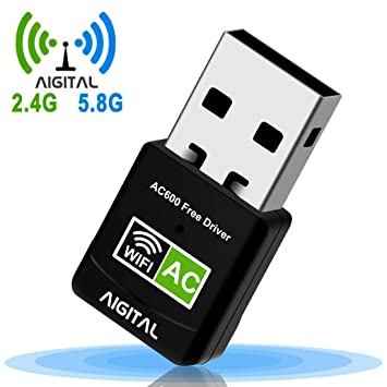 Aigital Adaptador WiFi USB 600Mbps Mini WiFi dongle Receptor Dual Band 2.4G/5GHz, Driver Free-Auto,para PC/Desktop/Laptop Plug and Play Soporta ...