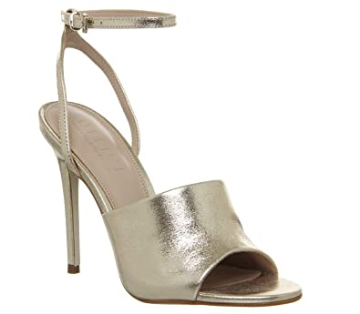 aecad28878 Office Houston High Vamp Ankle Strap Stiletto Gold Leather - 8 UK ...