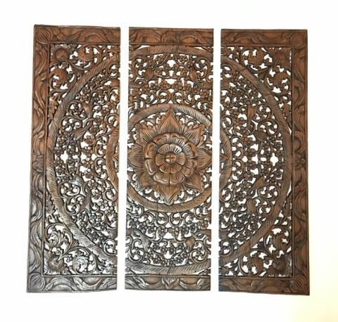 Thai Handmade Wood Carved Wall Panels. Large Square Wood Wall Decor. Decorative Wall Art Plaque.36''x36''x0.5'' (Brown)