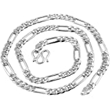 925 Sterling Silver Italian Solid 3MM Figaro Link-Chain Necklace 18""