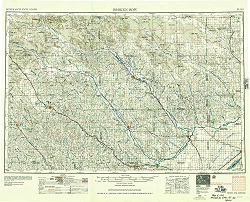 YellowMaps Broken Bow NE topo map, 1:250000 Scale, 1 X 2 Degree, Historical, 1955, Updated 1957, 22.9 x 28.3 in - Paper (Rockville Gables)
