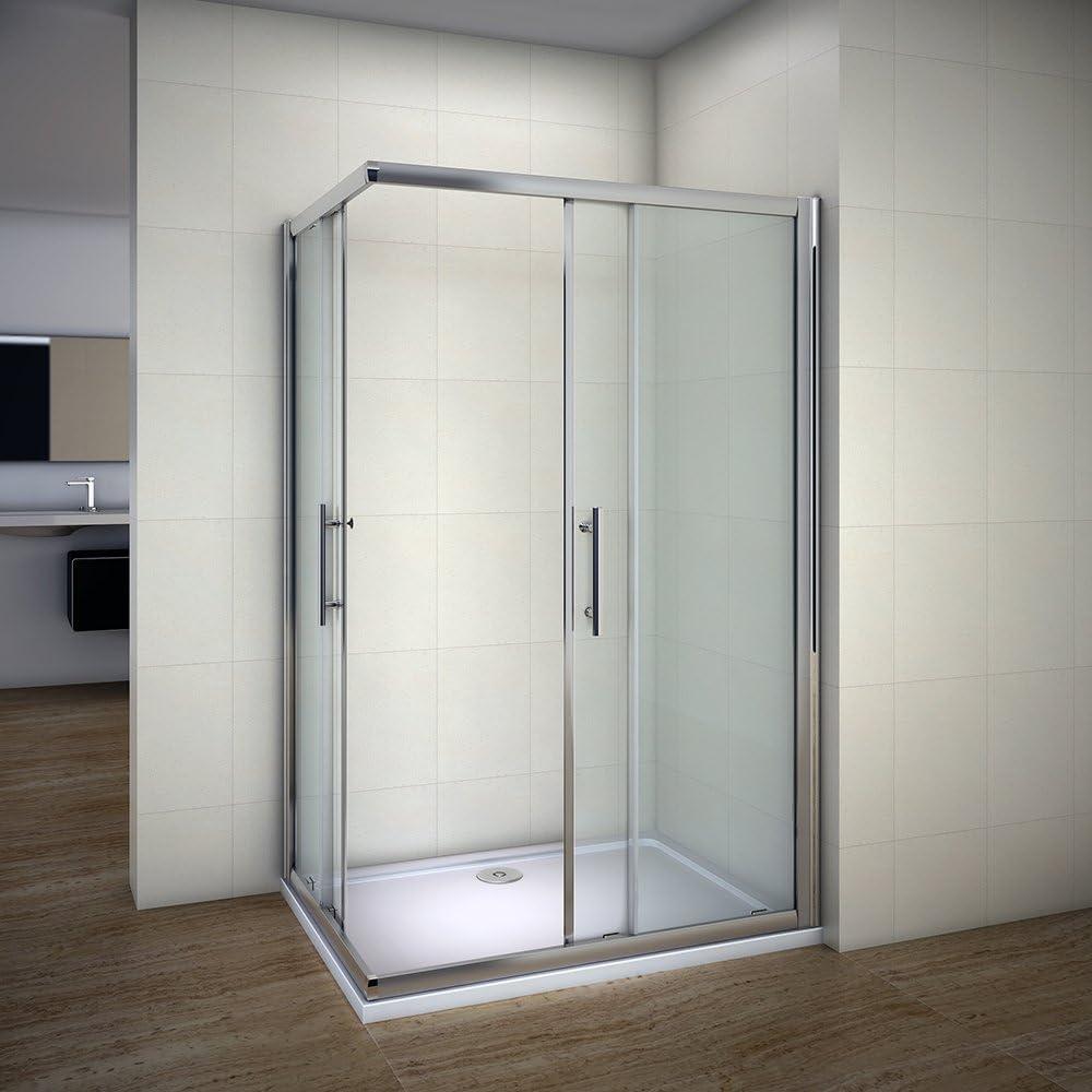 Mampara para ducha de esquina con doble puerta corredera de cristal de 6 mm, plato de piedra y flujo residual rápido., 1200x800mm with Tray and Waste: Amazon.es: Hogar