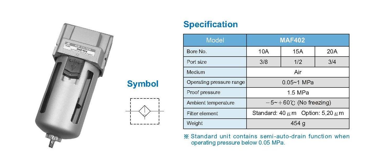 Mindman MAF402-10A-D-NPT Air units, air filter, 3/8 port size NPT, auto drain, 40 um filter element by Mindman