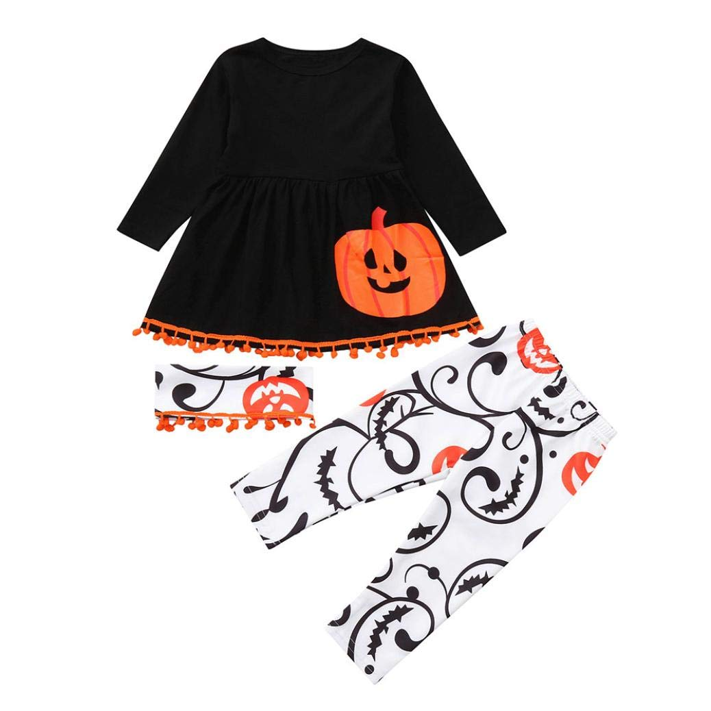 H.eternal Baby Costume Outfits Kids Toddler Girls Halloween Letter Pumpkin Ghost Print Long Sleeve Cotton Dresses Pants Headbands Casual O-Neck Fashion Dress