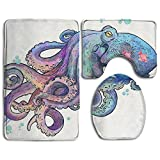Valentines Day Bathroom Accessories Bath Rug Sets 3 Piece Bathroom Non-Slip Floor Rug Oceanic Octopus Style Pedestal Rug + Lid Toilet Cover + Bath Mat For Kids Womens