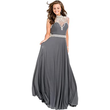 JVN by Jovani Womens Embellished Illusion Formal Dress - gray -