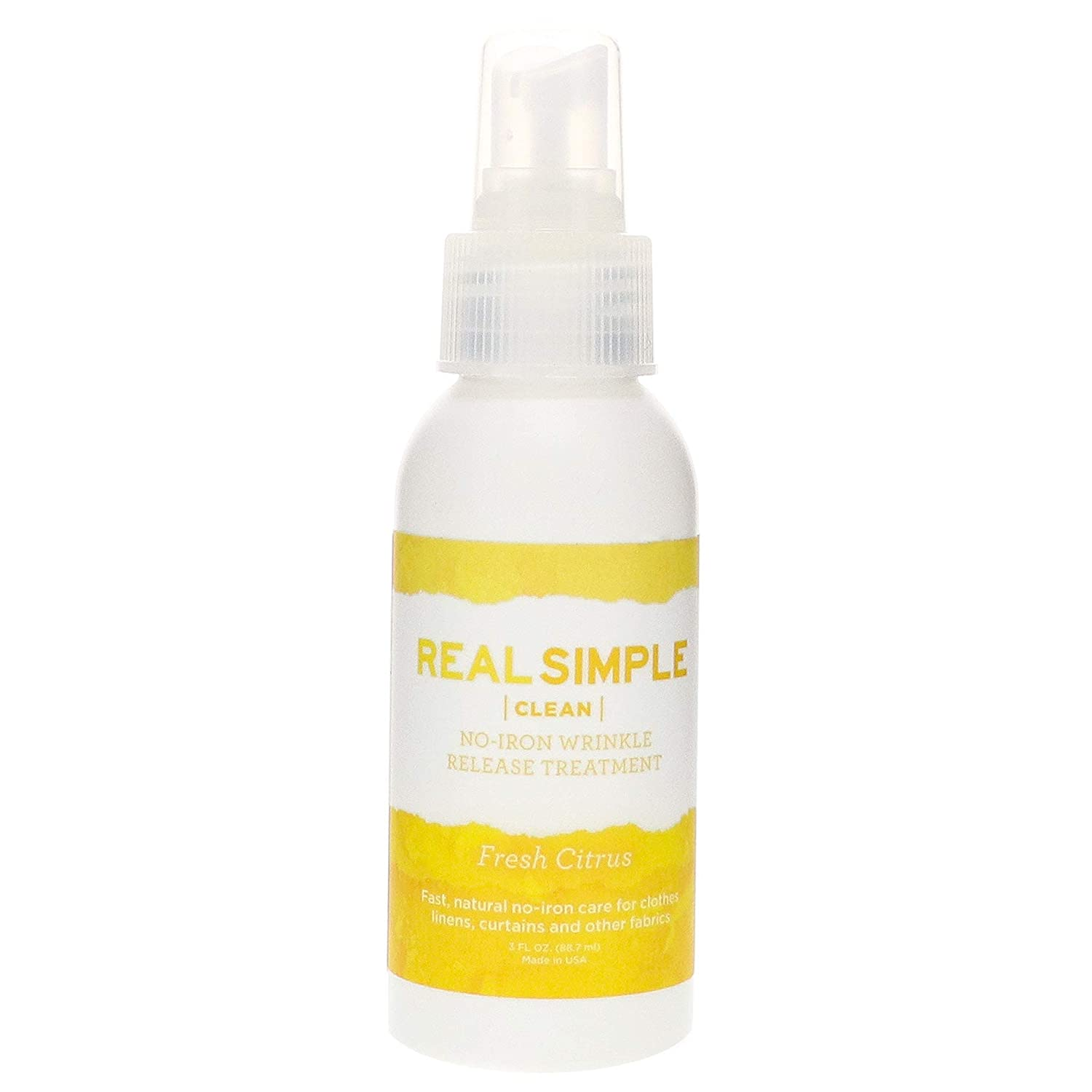 Real Simple Clean Travel Size Wrinkle Release, Static Cling Remover, Pillow & Fabric Freshener, Out The Door No-Iron Quick Fix, USDA Certified Bio-Based & Biodegradable (3 oz. ea, Fresh Citrus)