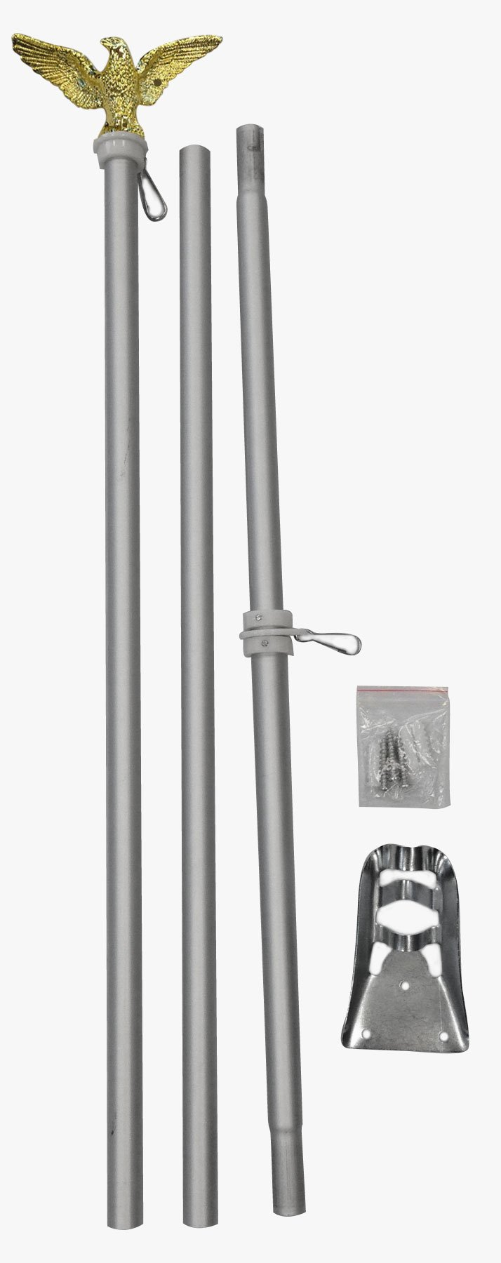 6 Foot Aluminum Silver Pole with (Eagle)
