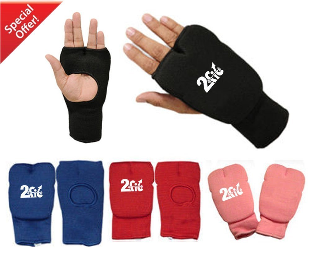 2Fit Karate Mitts Elasticated Cotton Martial Arts Boxing MMA Training Inner Gloves Open Finger Muay Thai Bandages Fist Padded Karate Gloves