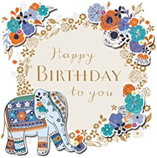 Happy Birthday Elephant Handmade Embellished Greeting Card By Talking Pictures Cards