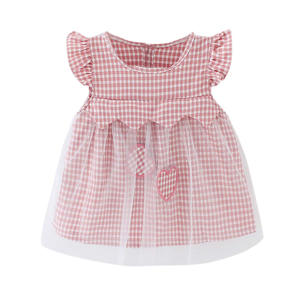 Baby Girl Skirt 0-2 Years, Toddler Girls Plaid Tulle Party Princess Dress Cute Heart Printed Dress (0-6 Months, Red)