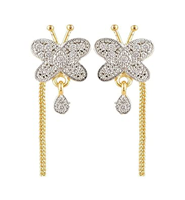 Buy Skn Silver And Gold Alloy Dangle Drop Sui Dhaga Earrings For