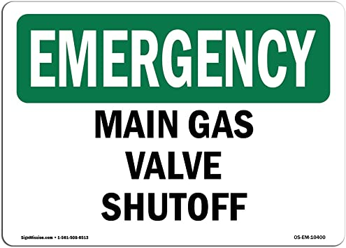 Vinyl Label Decal 7 X 5 Decal /Made in the USA Main Gas Valve Shutoff Protect Your Business Construction Site Warehouse /& Shop Area OSHA Notice Sign