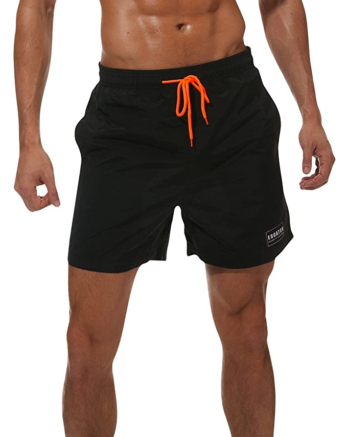 ad31e6731a Swimming Trunks for Men Short Mesh Lining Boardshort Casual Beach Shorts  for Running Volleyball Water Proof Black M | Amazon.com