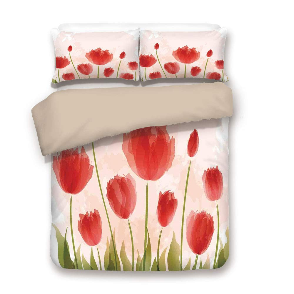iPrint Duvet Cover Set,Back of Khaki,Floral,Romantic Tulip Blooms Flower Meadow Fresh Feminine Buds Watercolor Paint Effect,Green and Red,Decorative 3 Pcs Bedding Set by 2 Pillow Shams,Twin