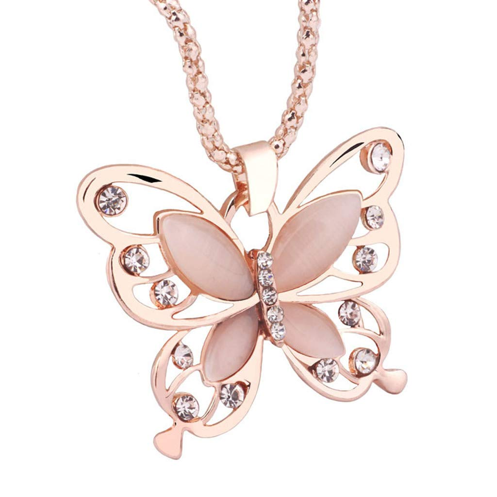 Sinwo Women Exquisite Rose Gold Opal Butterfly Charm Pendant Long Chain Necklace Jewelry Gift (Rose Gold)