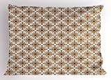 Ambesonne Ethnic Pillow Sham, Thai Mosaic Art Culture Stylized Abstract Lines Dots Pattern Folk Asian Design, Decorative Standard Queen Size Printed Pillowcase, 30 X 20 Inches, Redwood White