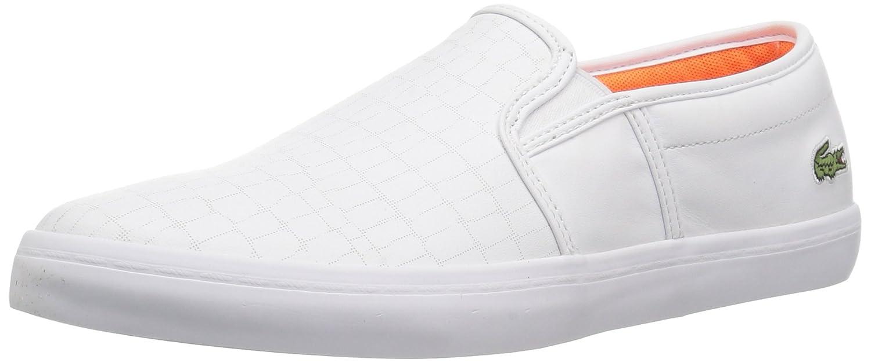 Lacoste Women's Gazon Slip-ONS B0721P88NS 5.5 B(M) US|White/Fluro Org Leather