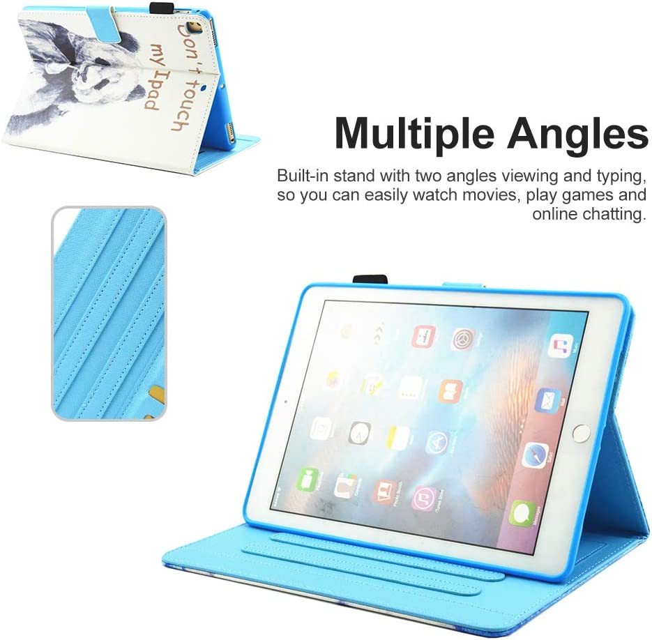 Coopts iPad 9.7 2018//2017//iPad Pro 9.7//Air 2//Air 1 Case PU Leather Protective Auto Sleep Wake Multi-Angle Viewing Stand Cover for iPad 9.7 6th// 5th Gen//Pro 9.7//iPad Air 2//Air 1 Tablet,Cute Elephant