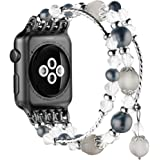 Simpeak Bands for Apple Watch 38MM Series 3 & 2 & 1 All Editions,Women Jewelry Band Crystal Diamond Unique Replacement Strap Band (38mm, Black)