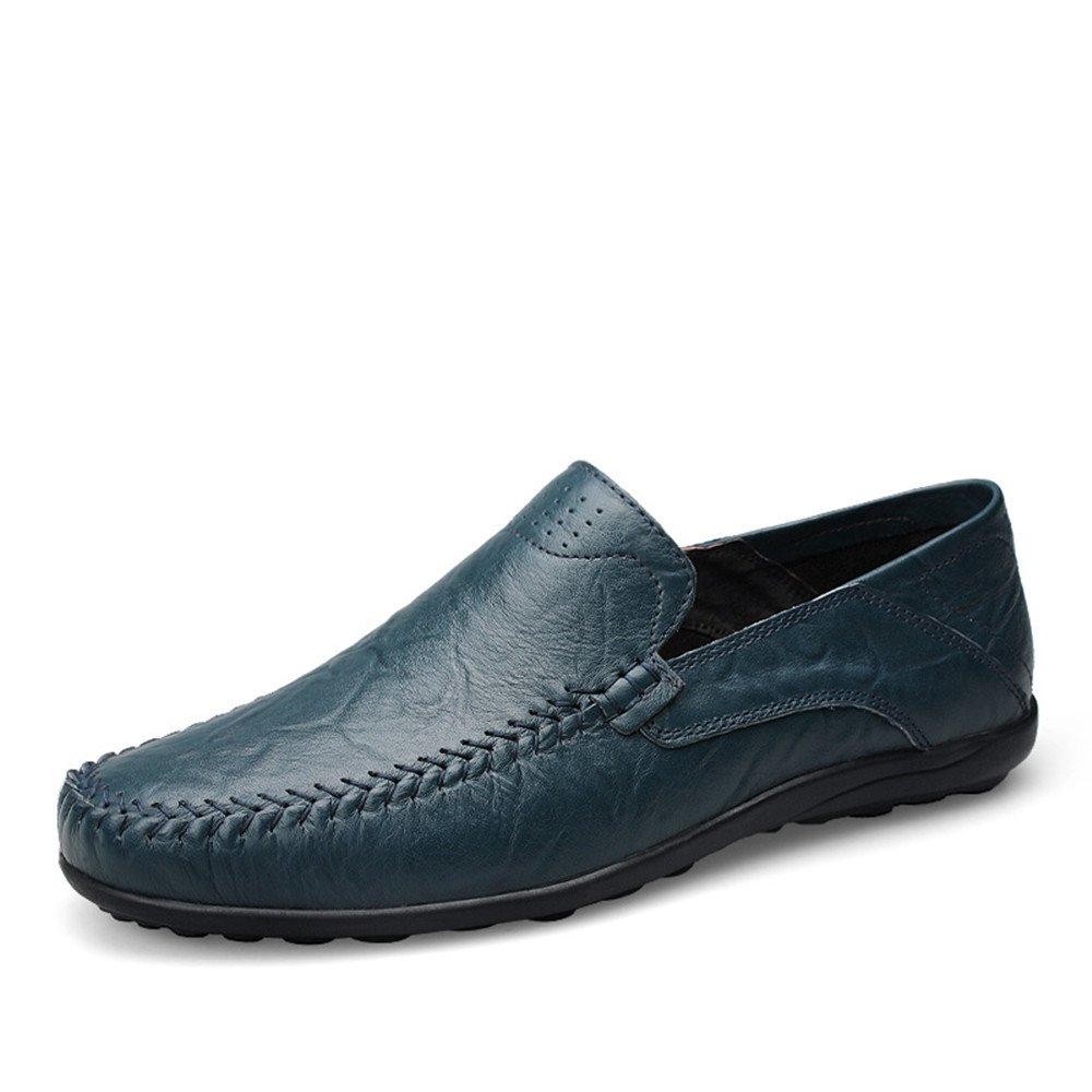 Slipper de Deslizamiento de los Mocasines Casuales del diseño de la Moda de los Hombres en la Zapatilla del holgazán de la conducción (Color : Blue Hollow Vamp, tamaño : 43 EU) -