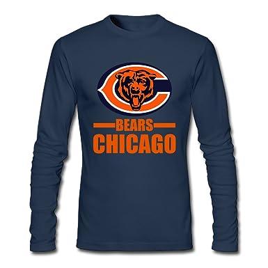 f19f275d950 Amazon.com: Chicago Bear Male 100% Cotton Long Sleeve T-Shirts Navy Large:  Clothing