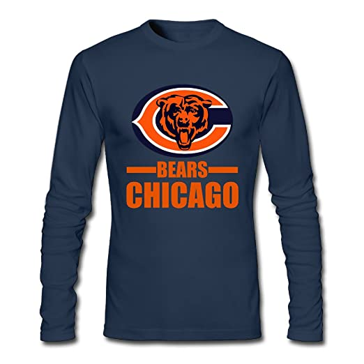 52e8d8a5 Chicago Bear Men 100% Cotton Long Sleeve T-Shirt Navy