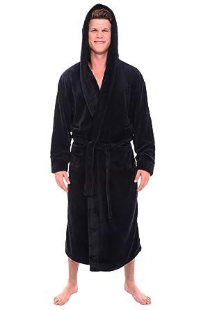 5103374440 Alexander Del Rossa Mens Fleece Solid Colored Robe