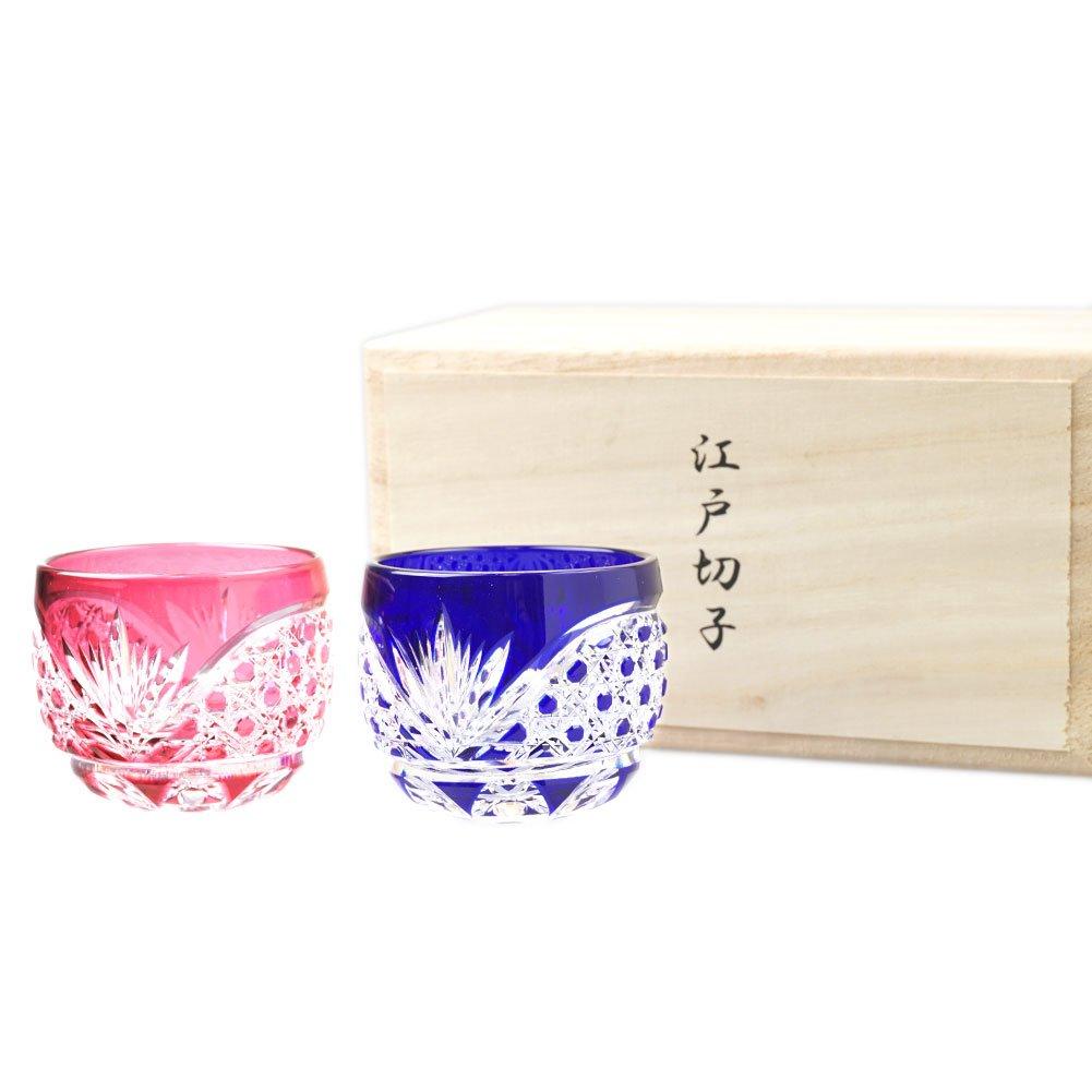 Set of 2 Crystal Sake Cup Edo Kiriko Guinomi Cut Glass Octagon Hakkaku-Kagome Pattern - Pink & Blue [Japanese Crafts Sakura]