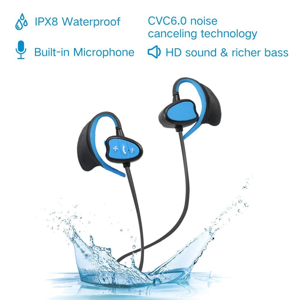 Ipx8 impermeabili cuffie bluetooth CSR Noise Cancelling auricolari sportivi wireless  con gancio dell orecchio sweatproof cuffie con microfono per iPhone bb57fce5b45e