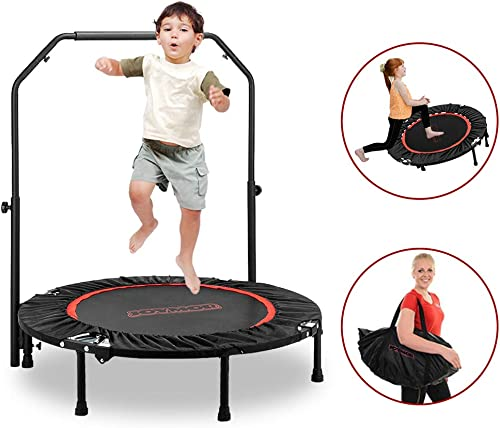 JOYMOR 2-in-1 Trampoline with Handle for Kids and Parents, 40 inch Rebounder Trampoline, Kids Exercise Fitness Trampoline for Workout Cardio, Max Load 300lbs