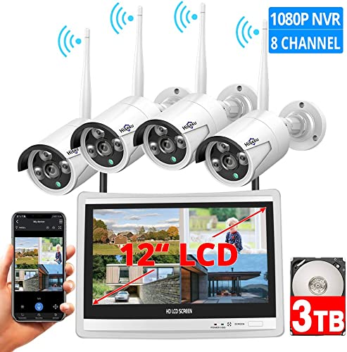 8CH Expandable Hiseeu All in one with 12 LCD Monitor Wireless Security Camera System, Home Business 8CH 1080P NVR Kit 4pcs 2MP Outdoor Bullet IP Cameras Night Vision Waterproof,3TB Hard Drive