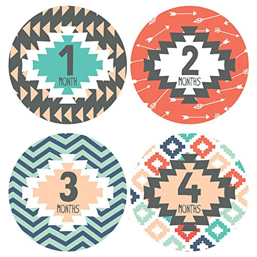 Lucy Darling Baby Monthly Stickers - Gender Neutral - Tribal Print - Months 1-12 by Lucy Darling (Image #4)