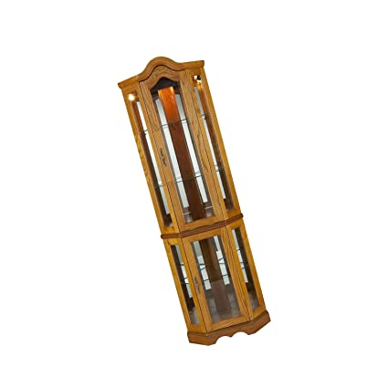 7a0685be9d90 Image Unavailable. Image not available for. Color  Grateshop1 Wood Golden  Oak Finish with Antique Hardware Southern Enterprises Lighted Corner Curio  Cabinet ...
