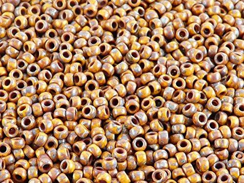 0.35oz Matubo Czech Glass Seed Beads 7/0 (3.5mm) (10gr) (Approx. 220pcs) Color: Lemon Travertine Dark