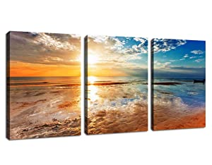 "Sunset Beach Wall Art Canvas Pictures Ocean Waves Coast 3 Piece Canvas Art Romantic Seascape Painting Prints Contemporary Artwork for Home Decoration Office Kitchen Wall Decor 12""x 16"" x 3 Panels"