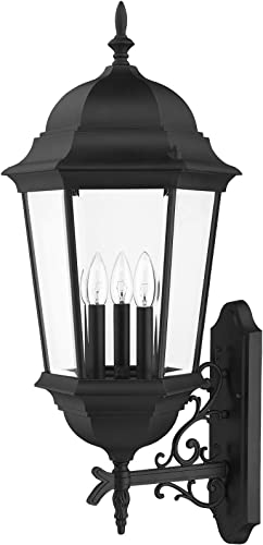 Livex Lighting 7566-04 Outdoor Wall Lantern with Clear Beveled Glass Shades, Black