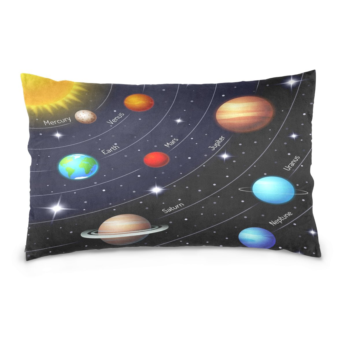 ALAZA Colorful Space Elements Planet Solar System Cotton Lint Pillow Case,Double-sided Printing Home Decor Pillowcase Size 16''x24'',for Bedroom Women Girl Boy