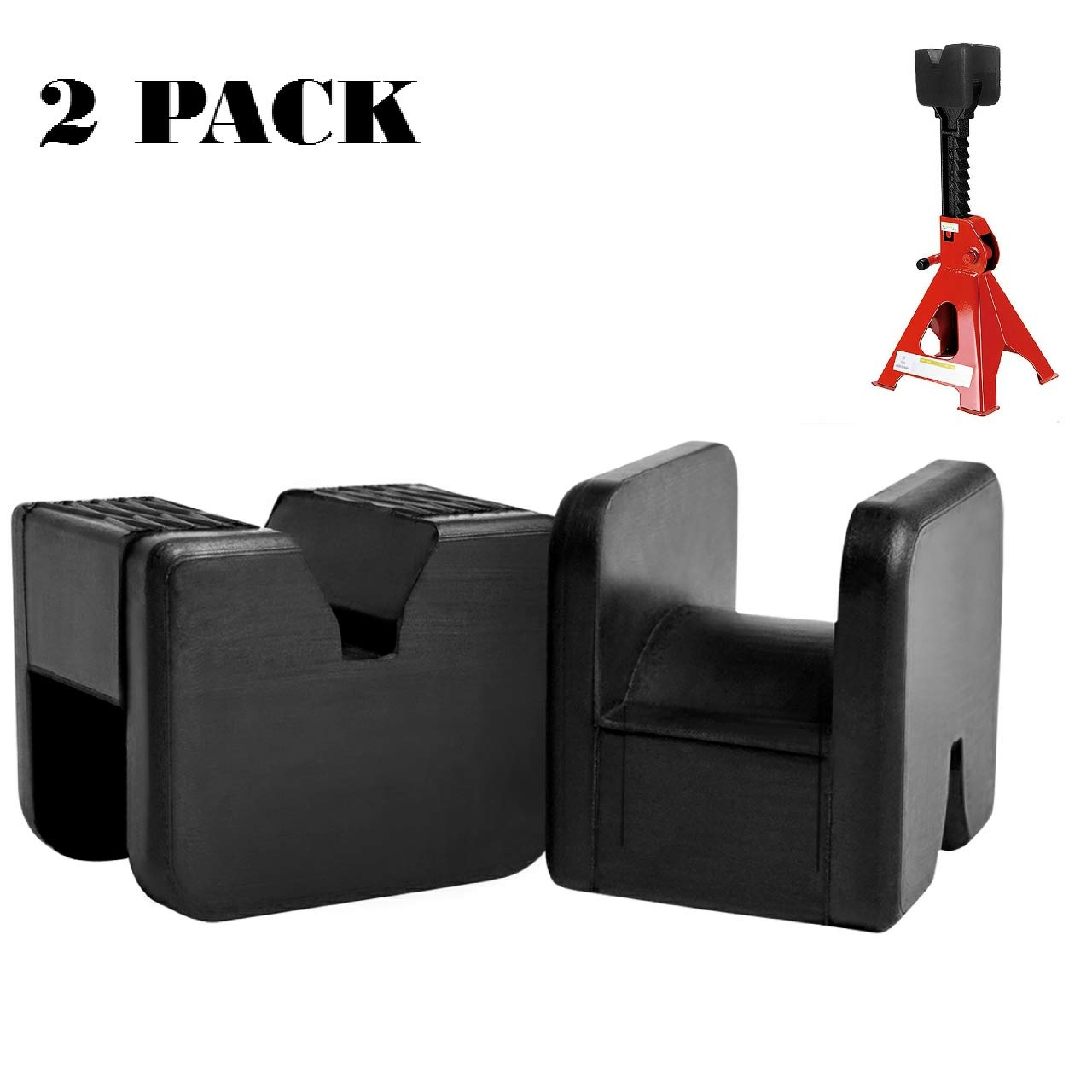 2 Pack Jack Pad Adapter Rubber Jack Pads Slotted Frame for Jack Stand General-Purpose Rubber by SuboTech