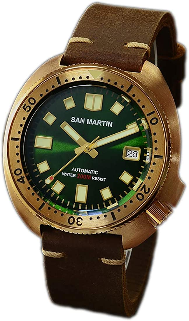 San Martin New Bronze Tuna 6105 Diving Watches 200m Water Resistant Genuine Leather Strap Men Automatic Wrist Watches for Male Men