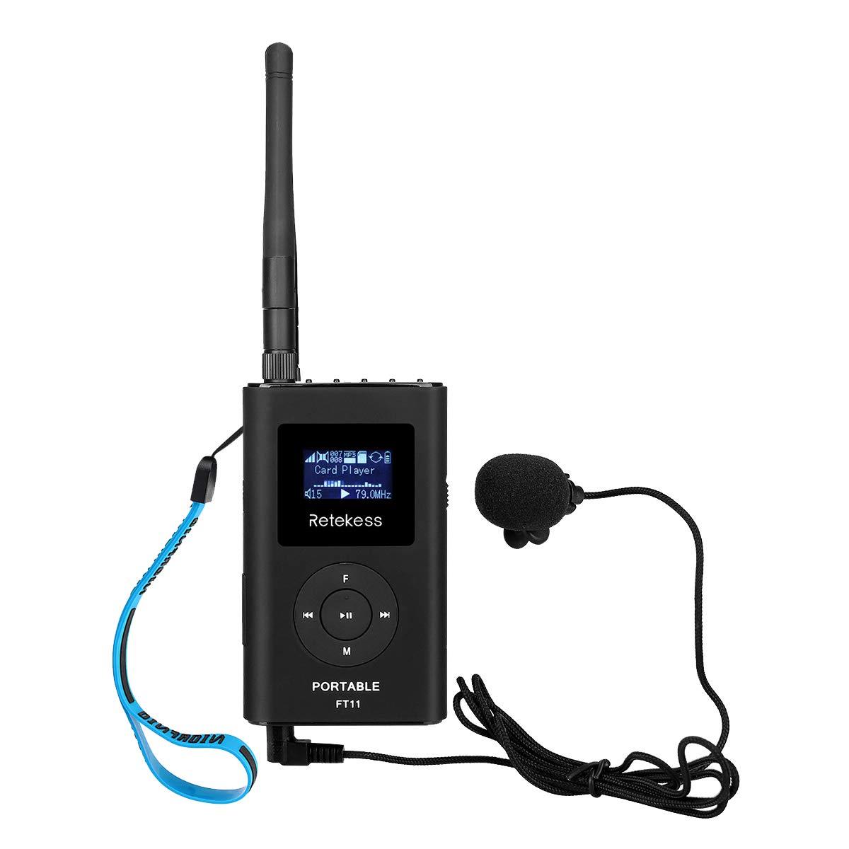 Retekess FT11 Portable FM Transmitter Low Power MP3 Broadcast Radio Station Power Support TF Card AUX Input for Church Translation by Retekess